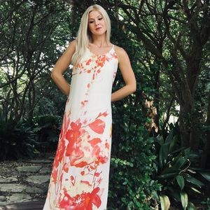 """New Directions"" Multicolored Floral Maxi Dress"